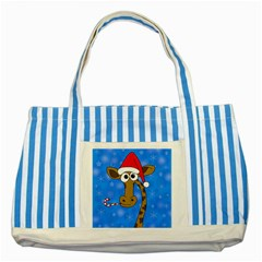 Xmas Giraffe   Blue Striped Blue Tote Bag by Valentinaart