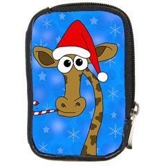 Xmas Giraffe   Blue Compact Camera Cases by Valentinaart