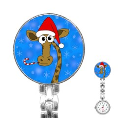 Xmas Giraffe   Blue Stainless Steel Nurses Watch by Valentinaart