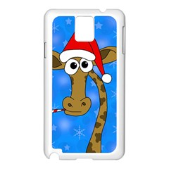 Xmas Giraffe   Blue Samsung Galaxy Note 3 N9005 Case (white) by Valentinaart