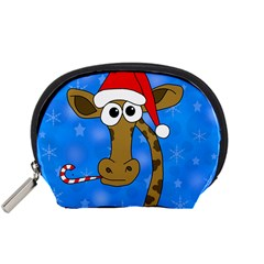 Xmas Giraffe   Blue Accessory Pouches (small)  by Valentinaart