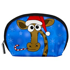 Xmas Giraffe   Blue Accessory Pouches (large)  by Valentinaart