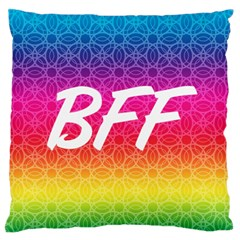 Rainbow Rings Bff Large Flano Cushion Case (one Side) by PhotoThisxyz