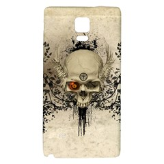 Awesome Skull With Flowers And Grunge Galaxy Note 4 Back Case by FantasyWorld7