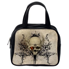 Awesome Skull With Flowers And Grunge Classic Handbags (one Side) by FantasyWorld7
