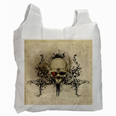 Awesome Skull With Flowers And Grunge Recycle Bag (one Side) by FantasyWorld7