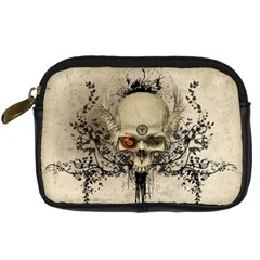 Awesome Skull With Flowers And Grunge Digital Camera Cases by FantasyWorld7