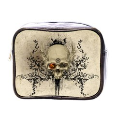 Awesome Skull With Flowers And Grunge Mini Toiletries Bags