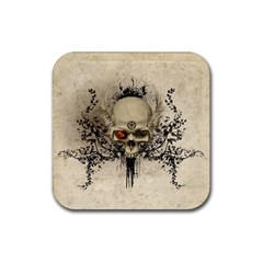 Awesome Skull With Flowers And Grunge Rubber Square Coaster (4 Pack)  by FantasyWorld7