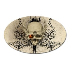 Awesome Skull With Flowers And Grunge Oval Magnet by FantasyWorld7