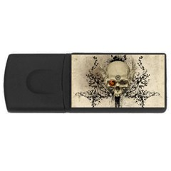 Awesome Skull With Flowers And Grunge Usb Flash Drive Rectangular (4 Gb)  by FantasyWorld7