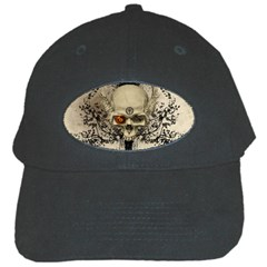 Awesome Skull With Flowers And Grunge Black Cap by FantasyWorld7