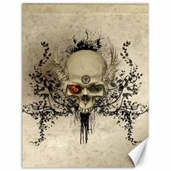 Awesome Skull With Flowers And Grunge Canvas 12  X 16   by FantasyWorld7