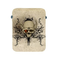 Awesome Skull With Flowers And Grunge Apple Ipad 2/3/4 Protective Soft Cases by FantasyWorld7