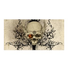 Awesome Skull With Flowers And Grunge Satin Wrap by FantasyWorld7