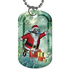 Funny Santa Claus In The Underwater World Dog Tag (one Side) by FantasyWorld7