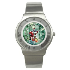 Funny Santa Claus In The Underwater World Stainless Steel Watch by FantasyWorld7
