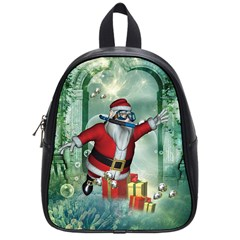 Funny Santa Claus In The Underwater World School Bags (small)  by FantasyWorld7