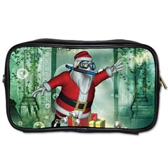 Funny Santa Claus In The Underwater World Toiletries Bags 2 Side by FantasyWorld7