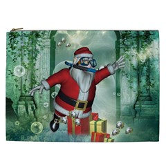 Funny Santa Claus In The Underwater World Cosmetic Bag (xxl)  by FantasyWorld7