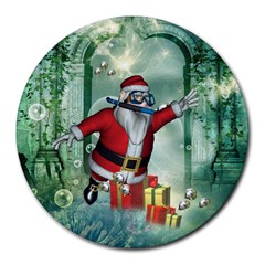 Funny Santa Claus In The Underwater World Round Mousepads by FantasyWorld7