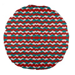 Geometric Waves Large 18  Premium Round Cushions by dflcprints