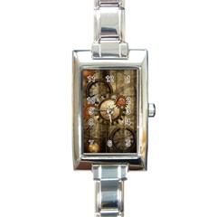 Wonderful Steampunk Design With Clocks And Gears Rectangle Italian Charm Watch by FantasyWorld7