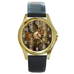 Wonderful Steampunk Design With Clocks And Gears Round Gold Metal Watch by FantasyWorld7