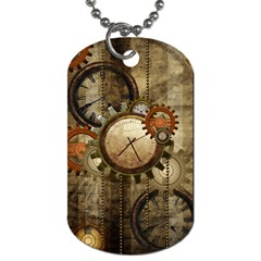 Wonderful Steampunk Design With Clocks And Gears Dog Tag (two Sides) by FantasyWorld7