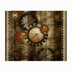 Wonderful Steampunk Design With Clocks And Gears Small Glasses Cloth by FantasyWorld7