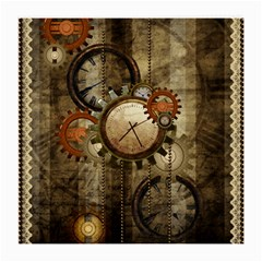 Wonderful Steampunk Design With Clocks And Gears Medium Glasses Cloth by FantasyWorld7