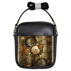 Wonderful Steampunk Design With Clocks And Gears Girls Sling Bags by FantasyWorld7