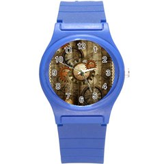 Wonderful Steampunk Design With Clocks And Gears Round Plastic Sport Watch (s) by FantasyWorld7