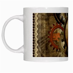 Wonderful Steampunk Design With Clocks And Gears White Mugs by FantasyWorld7