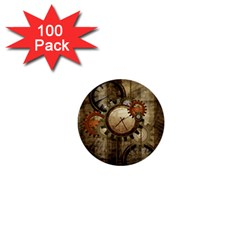 Wonderful Steampunk Design With Clocks And Gears 1  Mini Buttons (100 Pack)  by FantasyWorld7
