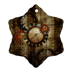 Wonderful Steampunk Design With Clocks And Gears Snowflake Ornament (2 Side) by FantasyWorld7