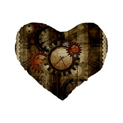 Wonderful Steampunk Design With Clocks And Gears Standard 16  Premium Flano Heart Shape Cushions by FantasyWorld7