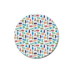 Blue Colorful Cats Silhouettes Pattern Magnet 3  (round) by Contest580383
