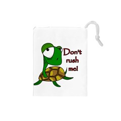 Turtle Joke Drawstring Pouches (small)  by Valentinaart