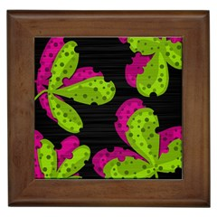 Decorative Leafs  Framed Tiles by Valentinaart