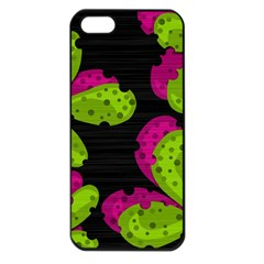 Decorative Leafs  Apple Iphone 5 Seamless Case (black) by Valentinaart