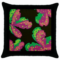 Colorful Leafs Throw Pillow Case (black) by Valentinaart