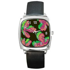 Colorful Leafs Square Metal Watch by Valentinaart