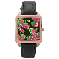 Colorful Leafs Rose Gold Leather Watch  by Valentinaart
