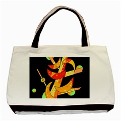 Orange Moon Tree Basic Tote Bag (two Sides) by Valentinaart