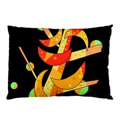 Orange Moon Tree Pillow Case (two Sides) by Valentinaart