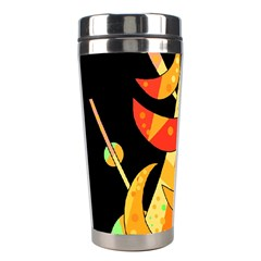 Orange Moon Tree Stainless Steel Travel Tumblers by Valentinaart