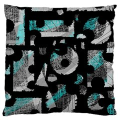 Blue Shadows  Large Cushion Case (one Side) by Valentinaart