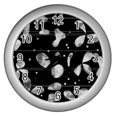 Black And White Floral Abstraction Wall Clocks (silver)  by Valentinaart