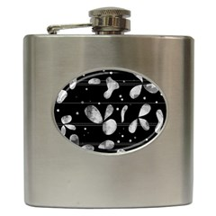 Black And White Floral Abstraction Hip Flask (6 Oz) by Valentinaart